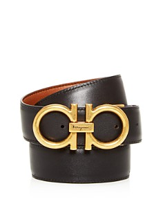 Salvatore Ferragamo - Double Gancini Reversible Leather Belt